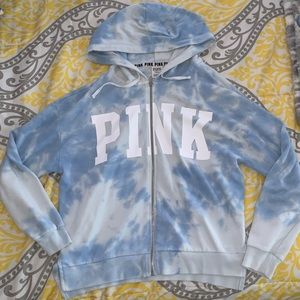 Blue and white tie dye zip up